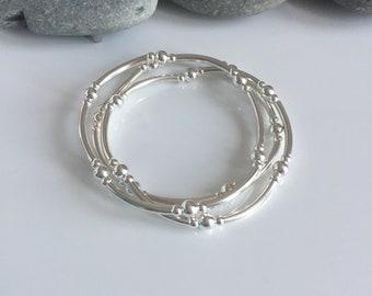 Silver stacking bracelets. Silver tube bracelets. Sterling silver beaded bracelets. Set of 3. Stacking bracelets. Tube bracelets. Beaded