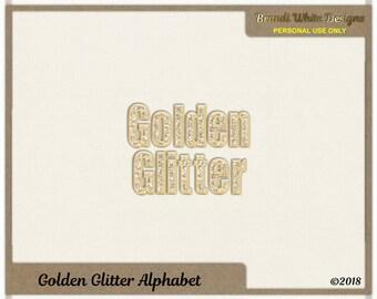 Golden Glitter Alphabet for Digital Scrapbooking, Instant Download