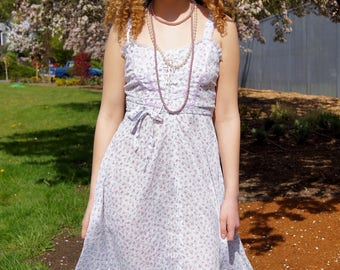 70's Semi-Sheer Calico Print Summer Peasant Dress