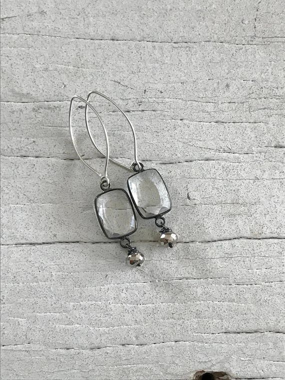 Shimmer. Shimmery faceted crystals set in oxidized sterling with a pyrite dangle by ladeDAH! Jewelry.