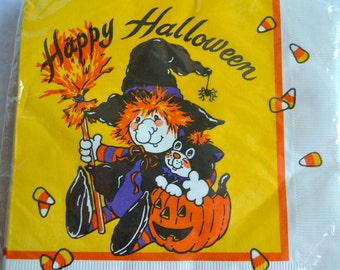 Vintage Paper Napkins - Halloween Witch and Black Cat - 20 Luncheon Size