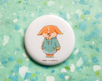 Rainy Day pin, 56mm badge, cute button, dog, welsh corgi, animal, nori, corgi, rain, raincoat, kawaii