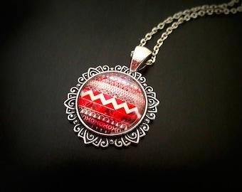 Aztec, Aztec, Aztec pendant cabochon necklace