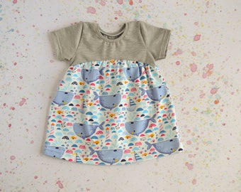 Girls Dress - Baby Clothes - Colour Block Dress - Toddler Dress - Baby Shower Gift - Whales Dress - Grey Dress - Seaside Outfit