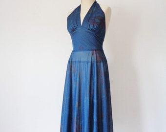 Vtg 70s Teal FLORAL Halter Dress with LOW Back! Small