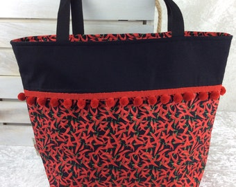 Red Hot Chillis Day Bag Tote fabric handbag shoulder bag purse Handmade in England