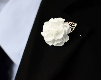 Lapel pin flower etsy white handmade golden leaf flower handcrafted lapel pin fashion boutonniere pin brooches for men women wedding business party accessories mightylinksfo