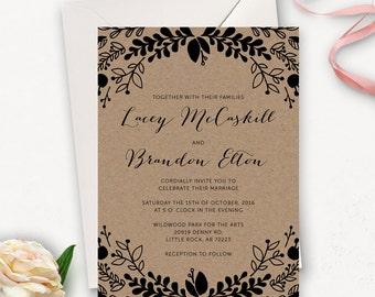 Printable Rustic Wedding Invitation / Printable Floral Wedding Invitation Template / Rustic Wedding Invitation Template