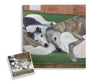 20x20 large pet portrait custom wall art painting from photo greyhound whippet hand painted on canvas the best gift for dog lovers