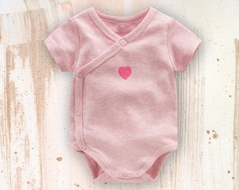 Baby Pink Heart Bodysuit / Romper / Kimono for Baby Boys and Girls from 0-24 Months