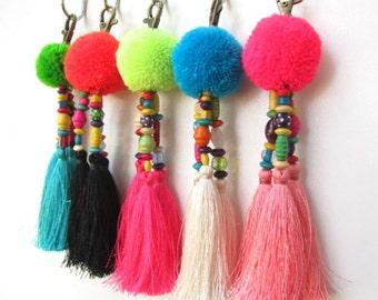 Luisa Tassle Keychain Large Pom Pom Tassel Keychain Tassel Zipper Pull BOHO Chic Bag Charm Beach Bag Summer Festival Unique Gifts For Her