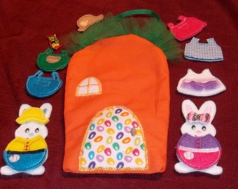 Bunny Felt Un Paper Dolls Boy and Girl with their own Carrot House and Wardrobe