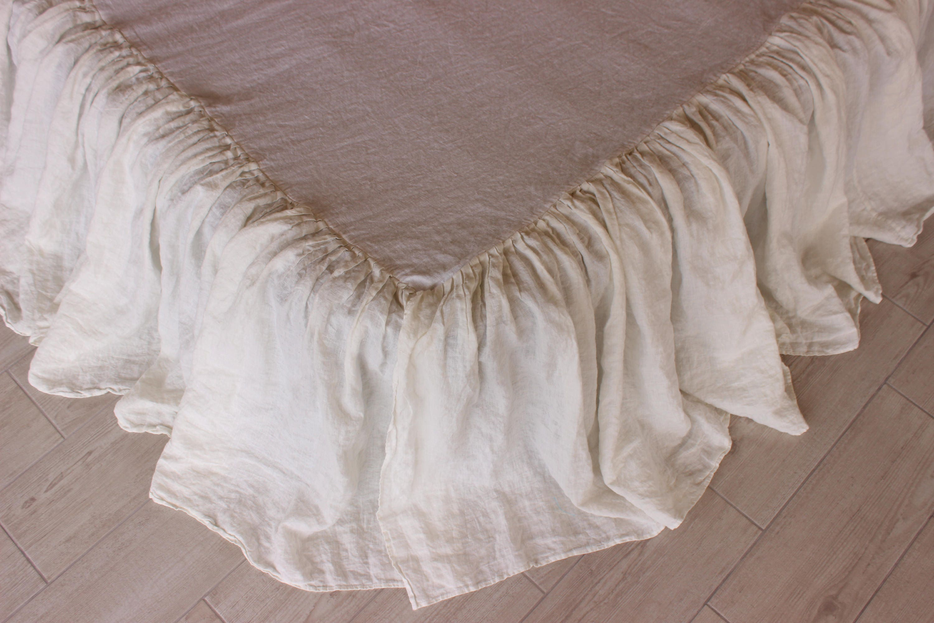 Linen Dust Ruffle Bedskirt 10 Colors Stone Washed Shabby Chic