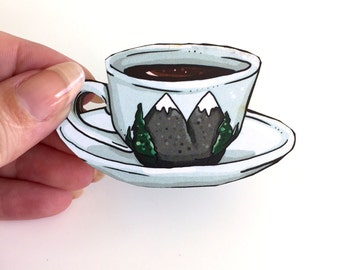 Twin Peaks Coffee Laser Cut Wood Brooch - Damn Fine Cup of Coffee David Lynch