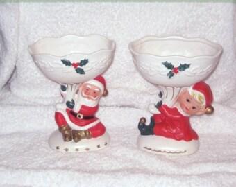 Vintage Christmas Napco Santa Claus & Pixie Elf Planter Candy dish Figurine Ornament Decoration Japan Porcelain Figure Ceramic Pedestal