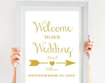 Gold Wedding Welcome Sign Printable Wedding Sign (4x6, 5x7, 8x10, 11x14, 16x20, 18x24, 24x36, A5, A4, A3, A2, A1, A0, Custom) CWS307_1122