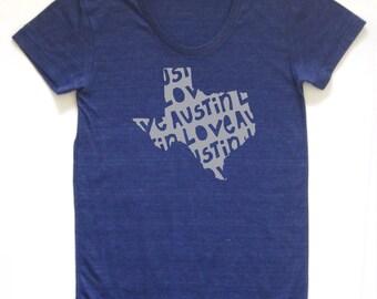 austin shirt, austin tshirt, graphic t, keep austin weird, woman fashion t, gray tshirt, screen print, silkscreen, free shipping