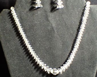 Art Deco Era Binder Brothers Faceted Rock Crystal Pyramid Bead Necklace Earrings On Sterling Chain and Clasp