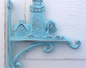 Rustic Lighthouse Plant Hanger - Cast Iron - Light Blue -In Aqua Decor-Distressed-Garden Decor-Robins Egg Blue-Summer Decor-Summer  Trends