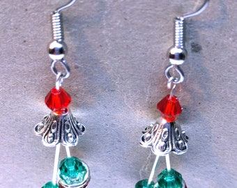 Christmas Bell Earrings, Bell Earrings, Holiday Jewelry, Red and Green Jewelry