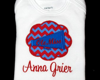 Custom Personalized Applique Chevron Stripe Cheer MEGAPHONE Patch and NAME Shirt or Bodysuit - Red and Blue Team Colors