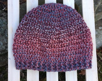 Maroon Purple Blue Multi Handmade Crochet Hat with Textured Band Infant Toddler Child Teen Adult