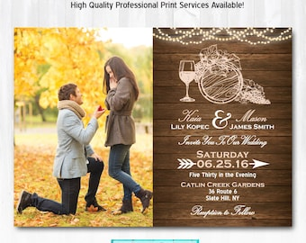 Wine Wedding Invitation DIY PRINTABLE Digital File or Print (extra) Vineyard Wedding Invitation Wine Invitation Vineyard Invitation Wood