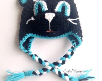 PATTERN** Crochet Panther hat, All Sizes, Newborn to Adult, Panthers Hat, Crochet Hat Pattern, Carolina Panthers