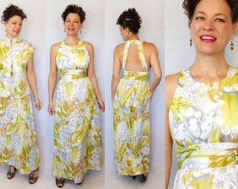 1970s Dress / 70s Dress / Tori Richard / Hawaiian Dress / Maxi Dress / Dress & Jacket Set / 1970s Maxi / Backless Dress / 70s Maxi / W 28""