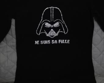 """Darth Vader T-shirt for children """"I am his daughter"""" can be customized"""