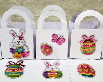 18 Easter bunny/egg favour boxes -  birthday/baby shower/Easter favours - table decorations - colourful egg treat boxes - Easter boxes