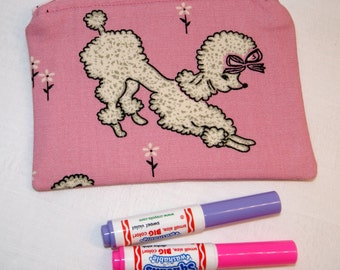 Zipper Pouch, Child Markers Holder, Small Coin Purse, Pink, Poodles, Handmade, Makeup Purse