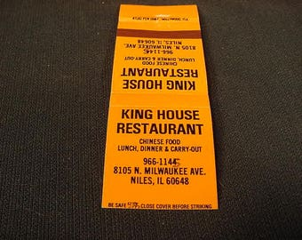 King House * Niles Il * Vintage Old Collectible * Match Book Cover * Restaurant *