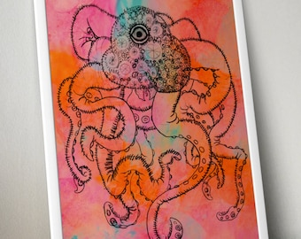 One-eyed Design Squid with Watercolor Background Wall Art Print - 8x10 PDF Instant Download