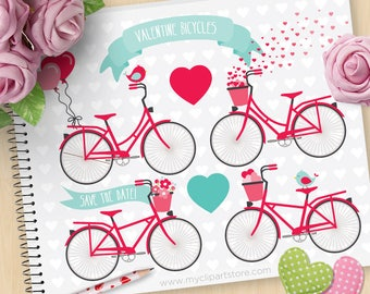 Valentine's Day Bicycles, Wedding bikes clipart, Balloons, Ribbon Banner, Save the Date, Commercial Use, SVG Files, Vector Clipart