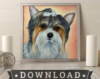 Biewer Parti Yorkie Terrier Dog - Downloadable 350 DPI - Art Painting Print From Home Wall Art Pet Portrait Gift Poster