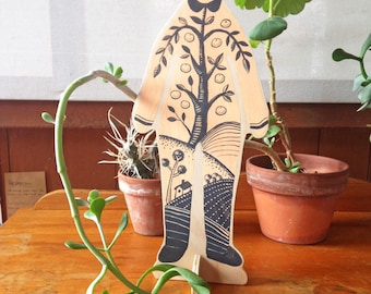 Hand painted wooden sculpture - The Orangerie Man