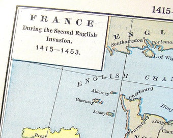1888 Historical Map - Antique Map - Map of France During the Second English Invasion, 1415-1453 - 11 x 8