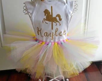 Horse birthday girl tutu set, horse carousel birthday tutu, horse tutu,horse birthday, carousel birthday, horse birthday outfit, horse shirt