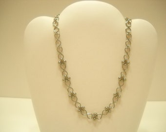 Silver Tone Link Choker Necklace (755)