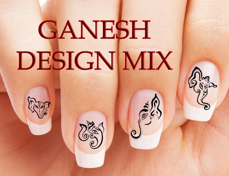 ON SALE 49 Mixed GANESH Nail Art Sets (gn2) Hindu Meditation Indian ...