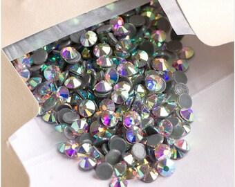8ss Crystal AB HOTFIX Iron on Rhinestones VERY High Quality qty. 144