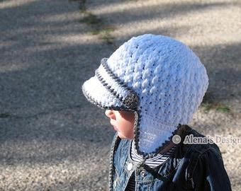 Crochet Pattern 130 - Crochet Hat Pattern - Hat Crochet Pattern Baby Visor Hat With Ear Flaps Newborn Baby Boy Baby Girl Toddler Winter Hat