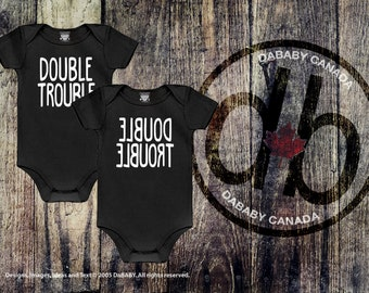 Double Trouble Twins Baby Bodysuit - Twins Gender Reveal - Newborn Twins Baby Shower Gift - Newborn Baby Clothes - Girls' Tops - Boys Tops