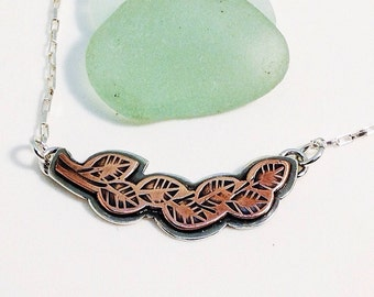 Leaves necklace leaf necklace branch necklace. copper on sterling silver. two-tone