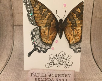 Happy Birthday - Butterfly Card (peach colour)
