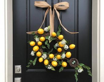Lemons Wreath, Spring Wreaths, Yellow Lemons Wreath, Bird's Nest Wreath, Spring Door Wreaths, Unique Door Wreaths, Front Porch Wreaths