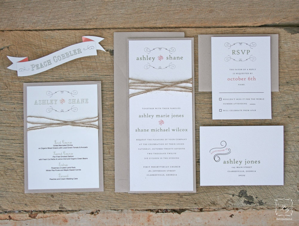 Rustic twine wedding invitation set sample zoom solutioingenieria Image collections