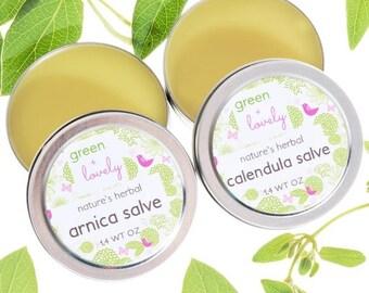 Calendula + Arnica Salve Tins, Sensitive Skin Care, Natural Spa Gift, Organic Skin Care, Spa Gift For Her, Herbal Spa Gift, Men, Women, Gift