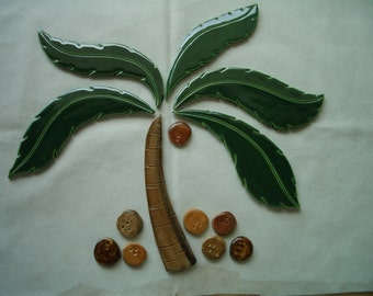 CS2 -  PALM Tree, Coconuts - Ceramic Mosaic Tile Set
